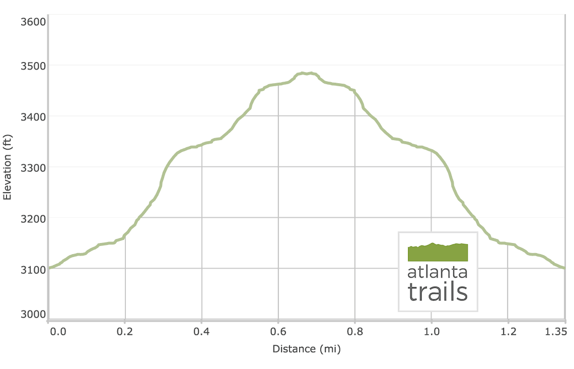 Byron Reece Trail at Neels Gap - Elevation Profile