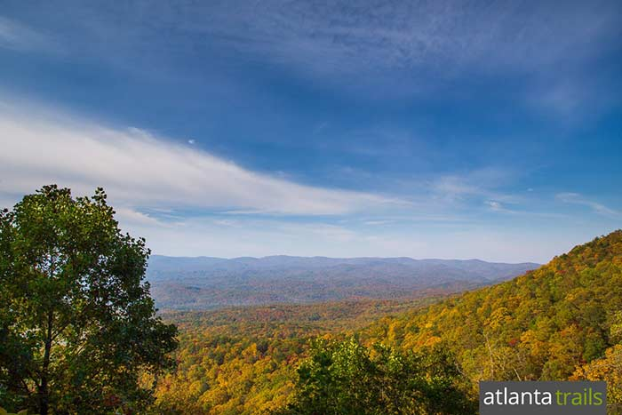 The Amicalola Falls Trail hikes to stunning views near the waterfall's crest