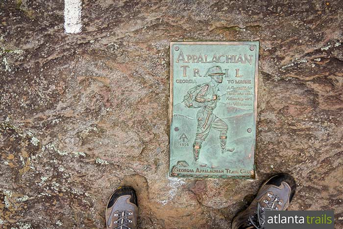 Hike to the southernmost blaze of the Appalachian Trail at Springer Mountain, commemorated by this historic bronze plaque