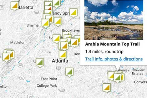 Atlanta Trails Map Search: find Georgia's best hiking trails on an interactive map
