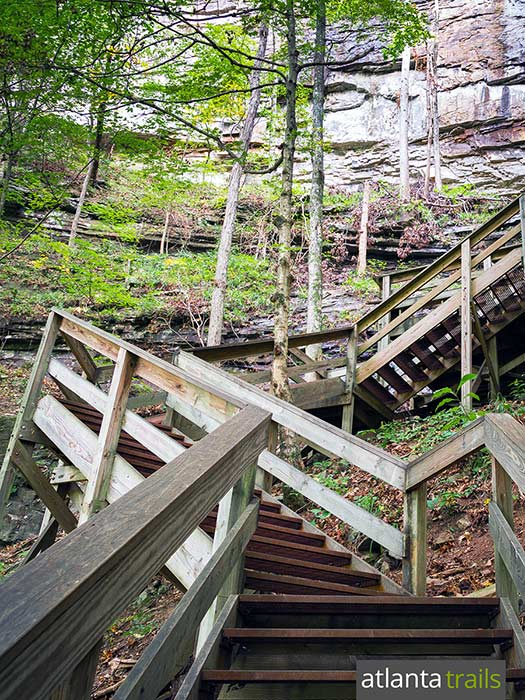 Hike the Waterfalls Trail at Georgia's Cloudland Canyon, descending into the steep-walled gorge to visit two enormous, beautiful waterfalls