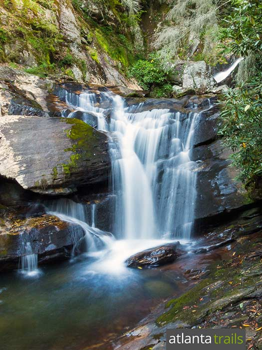 Hike the short, kid-friendly Dukes Creek Falls Trail in North Georgia to several stunning waterfalls near Helen