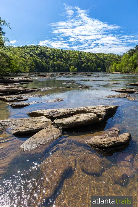 Hike the East Palisades Trail along the wide-flowing Chattahoochee River near Vinings