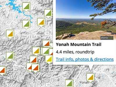 Georgia Trails Map Search: find a great Georgia hiking trail, running trail or backpacking adventure by map