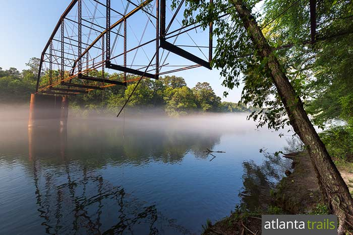Explore the remains of a historic heisted bridge at Jones Bridge Park on the metro Atlanta stretch of the Chattahoochee River