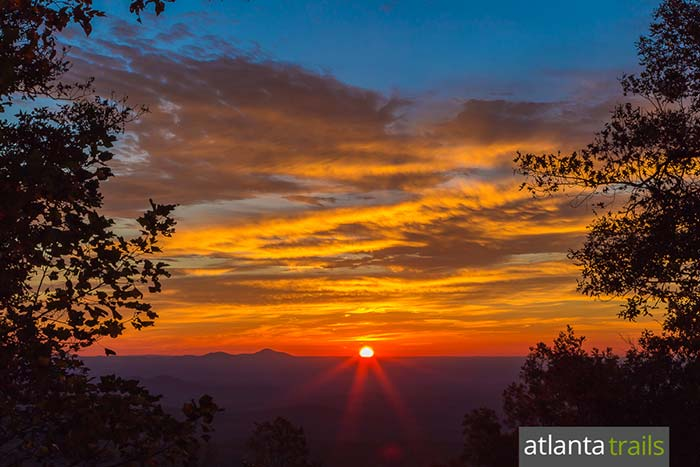 Catch a stunning sunrise at the Len Foote Hike Inn, an eco-friendly backcountry lodge in North Georgia that's accessible only by hike