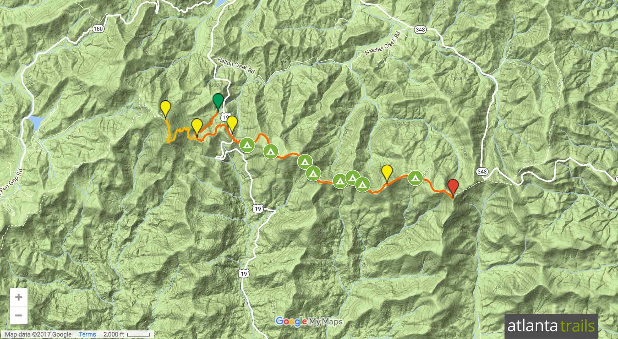 Appalachian Trail Blood Mountain to Cowrock Mountain Map