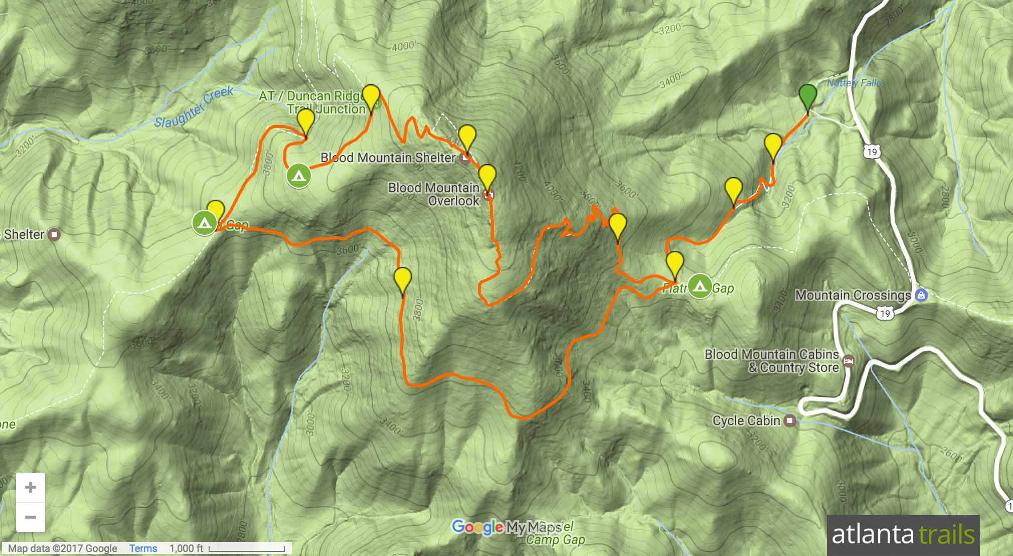Blood Mountain Appalachian Trail Loop Map