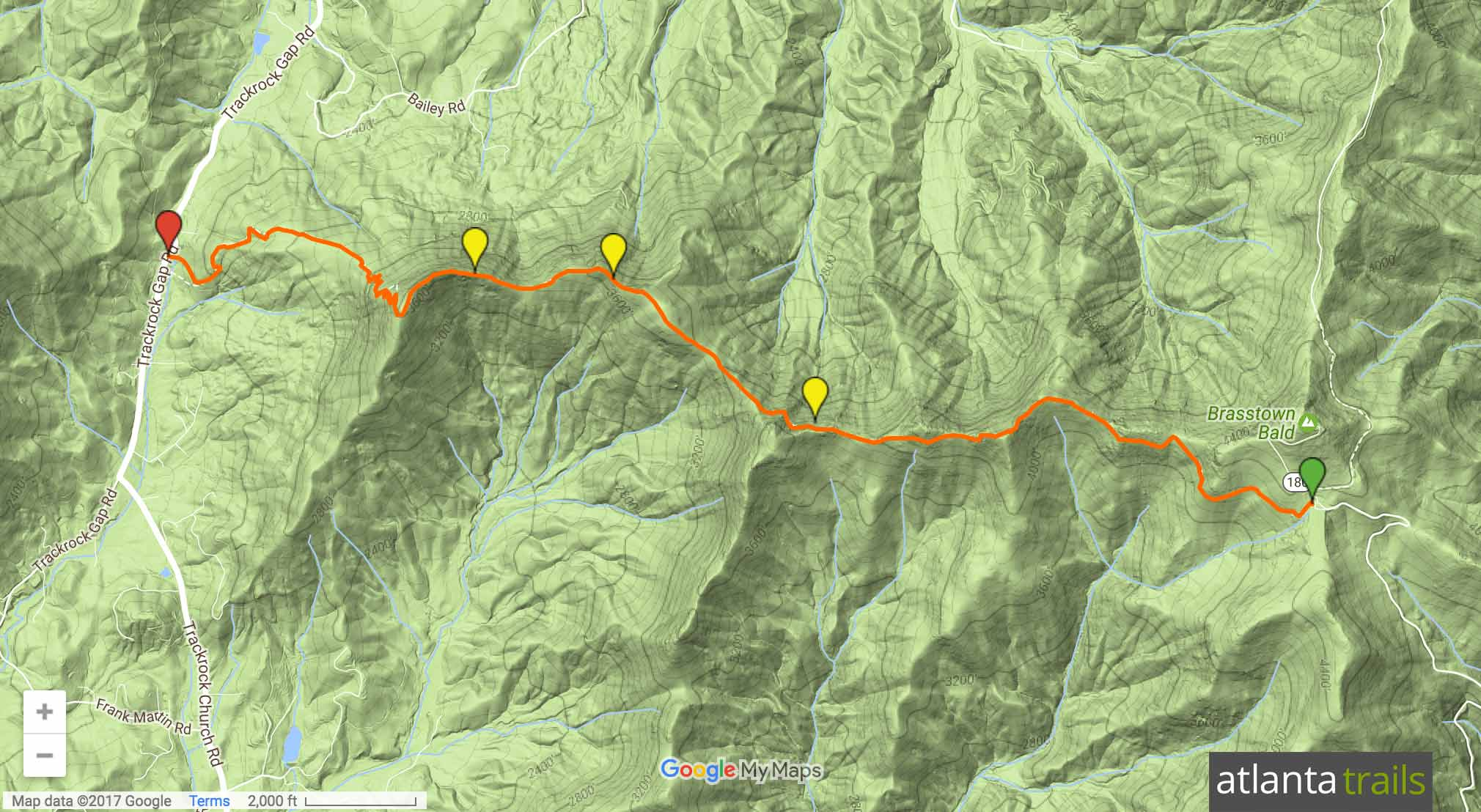 Arkaquah Trail: Brasstown Bald to Track Rock Gap Map
