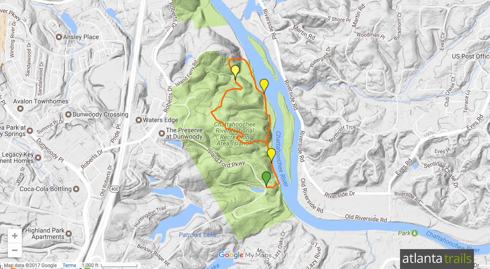 Island Ford Trail on the Chattahoochee River Map