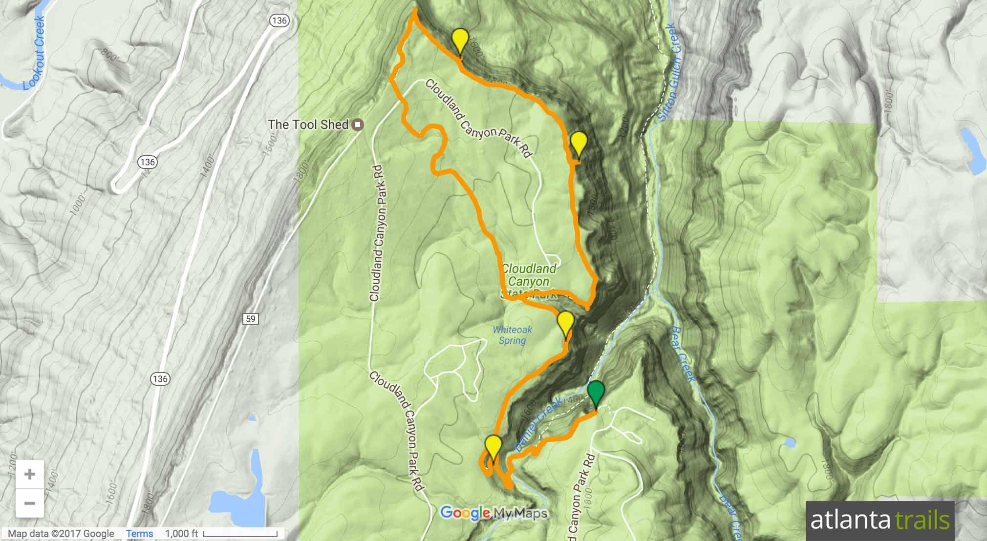 Cloudland Canyon West Rim Trail Map