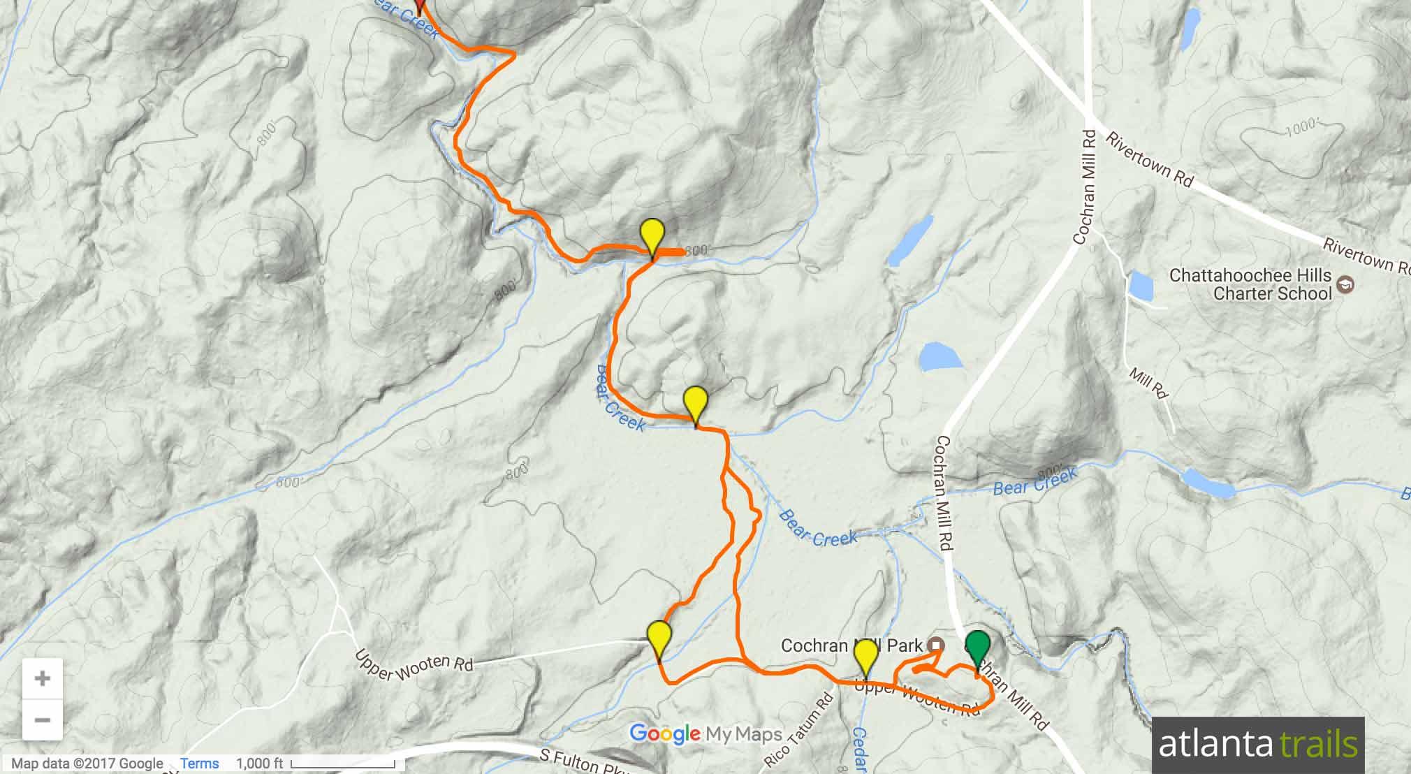 Cochran Mill Park: Henry Mill Falls Trail Map
