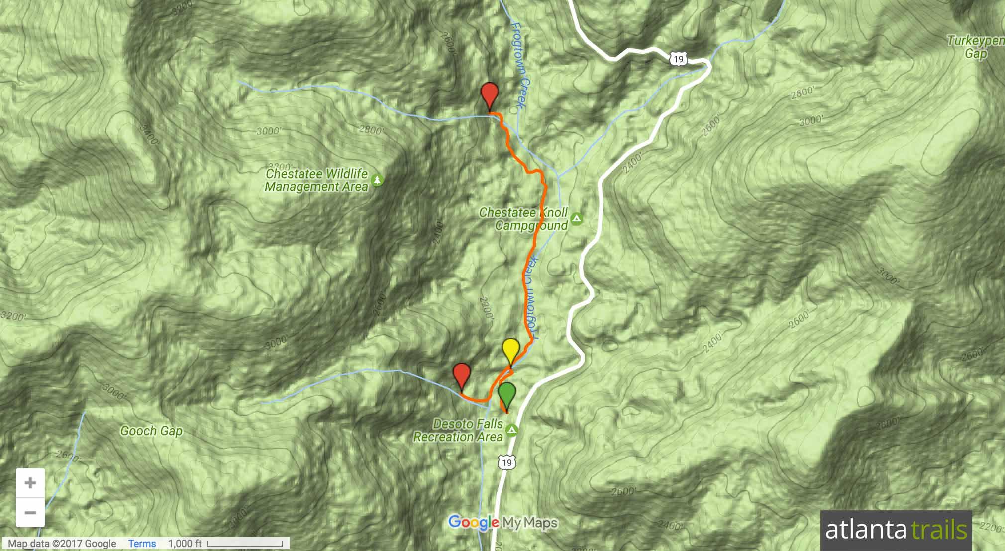 DeSoto Falls Trail Map