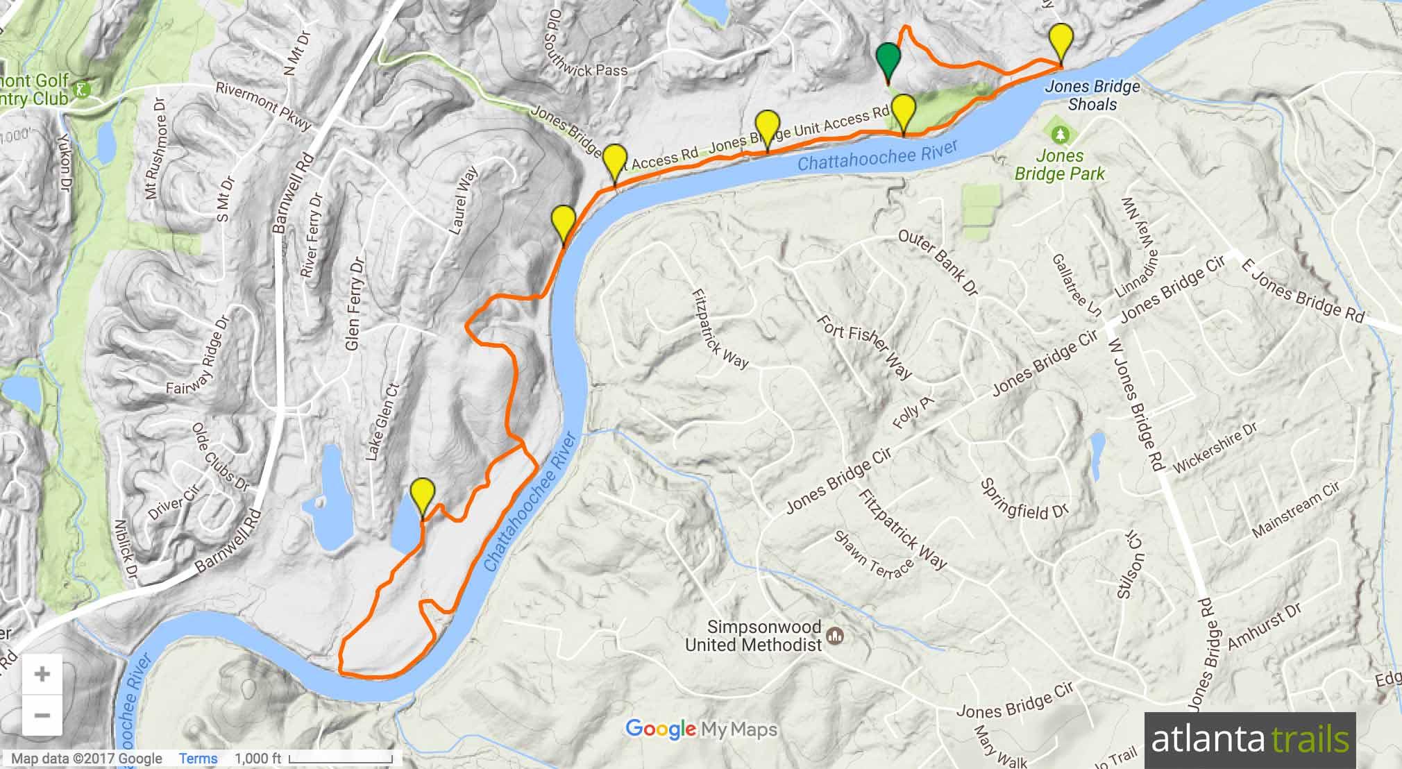 Jones Bridge Park Trail Map