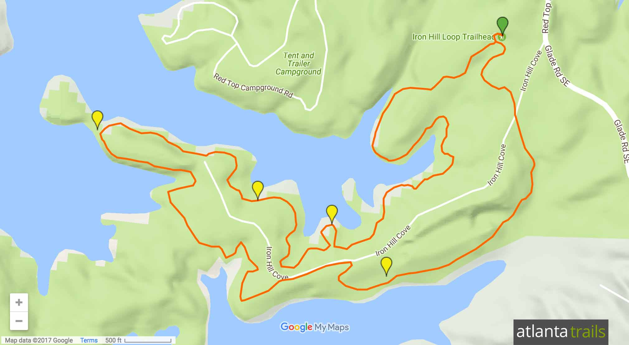 Red Top Mountain Iron Hill Loop Trail Map