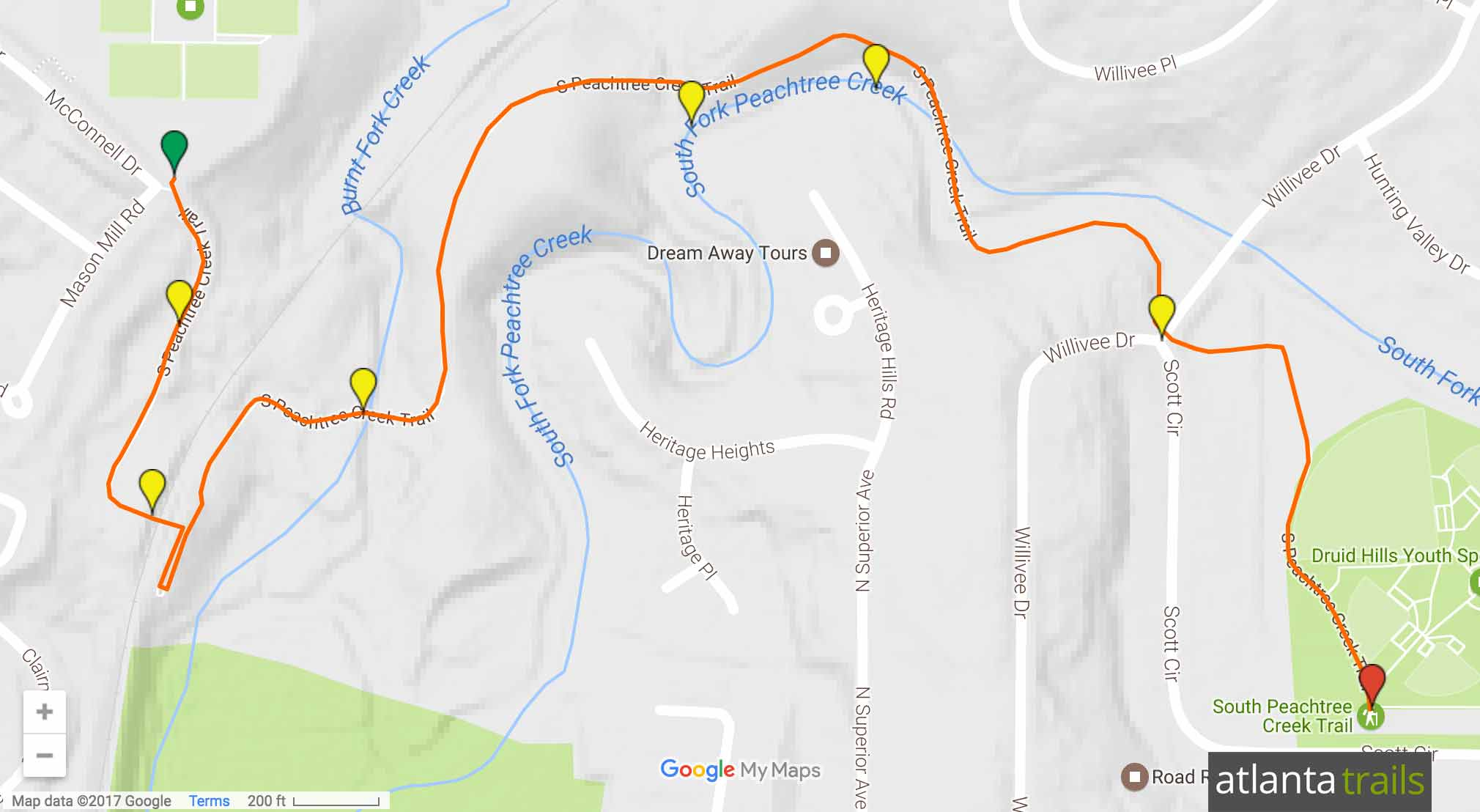 South Peachtree Creek Trail Map
