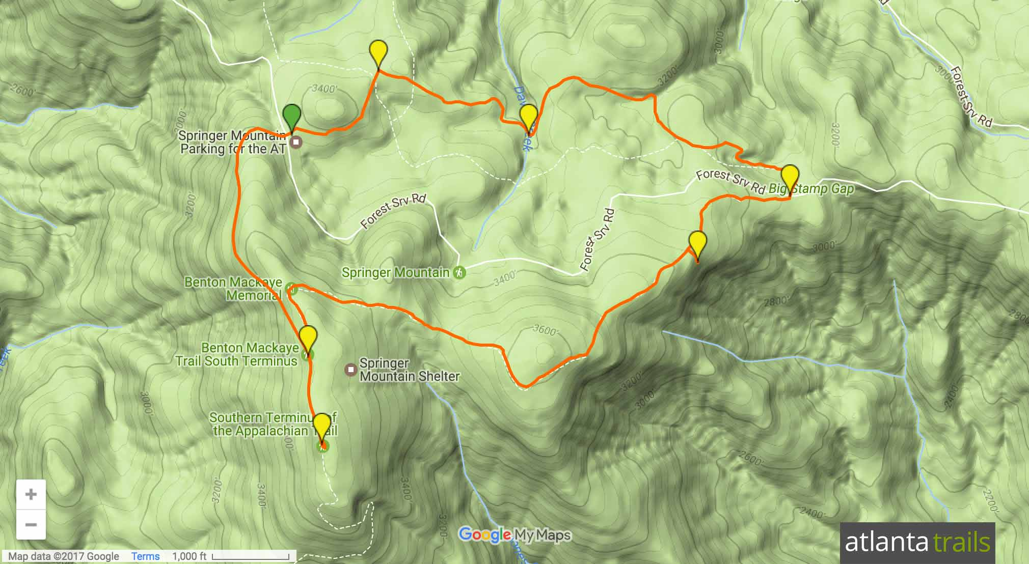 Springer Mountain Loop on the Appalachian Trail and Benton MacKaye Trail Map