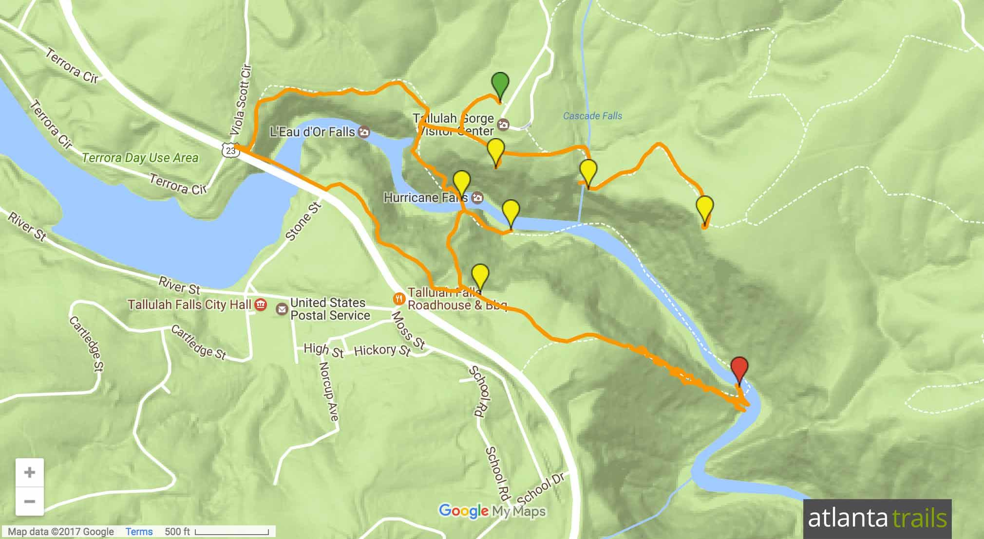 Tallulah Gorge Sliding Rock Trail Map