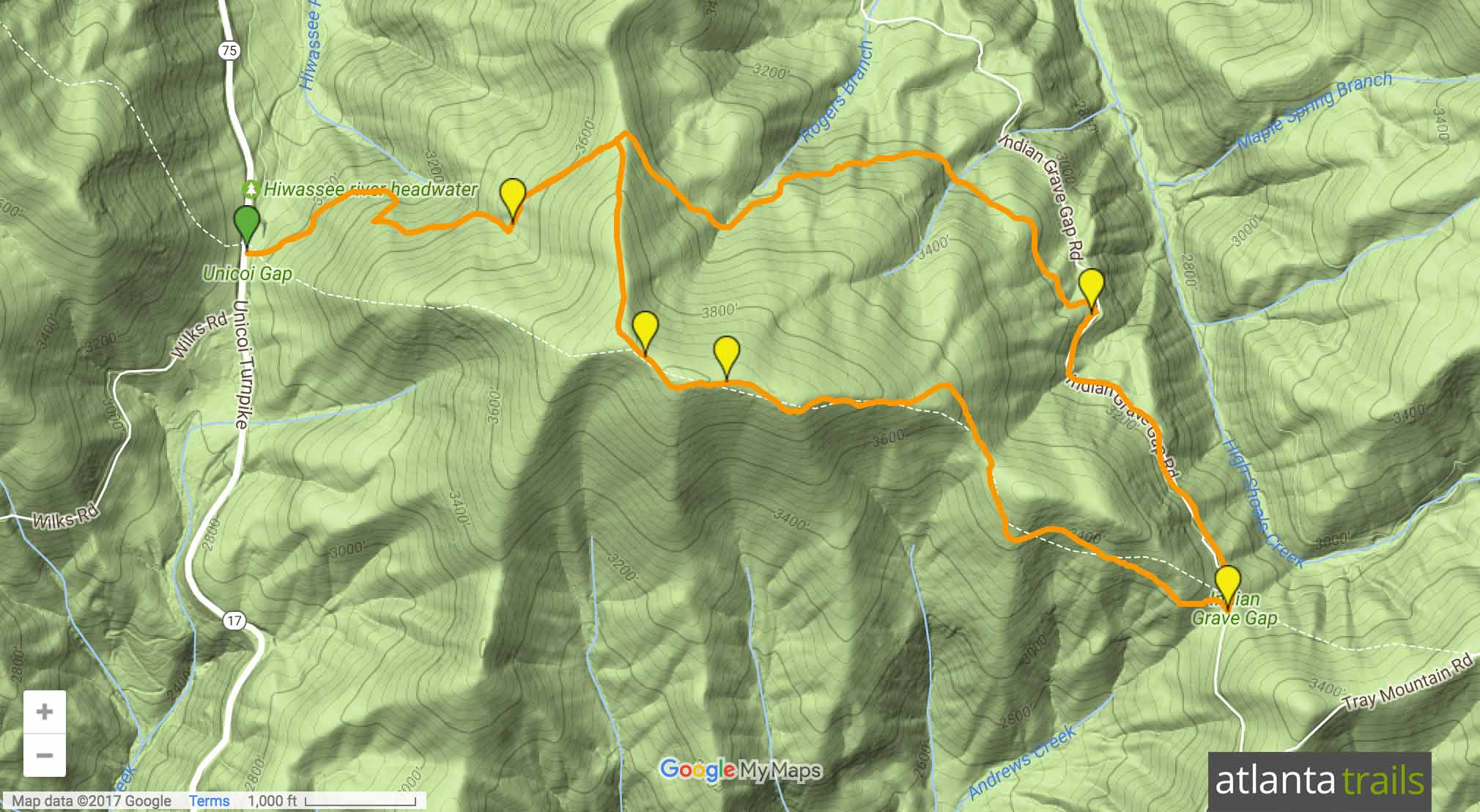 Appalachian Trail, Unicoi Gap to Indian Grave Gap Map