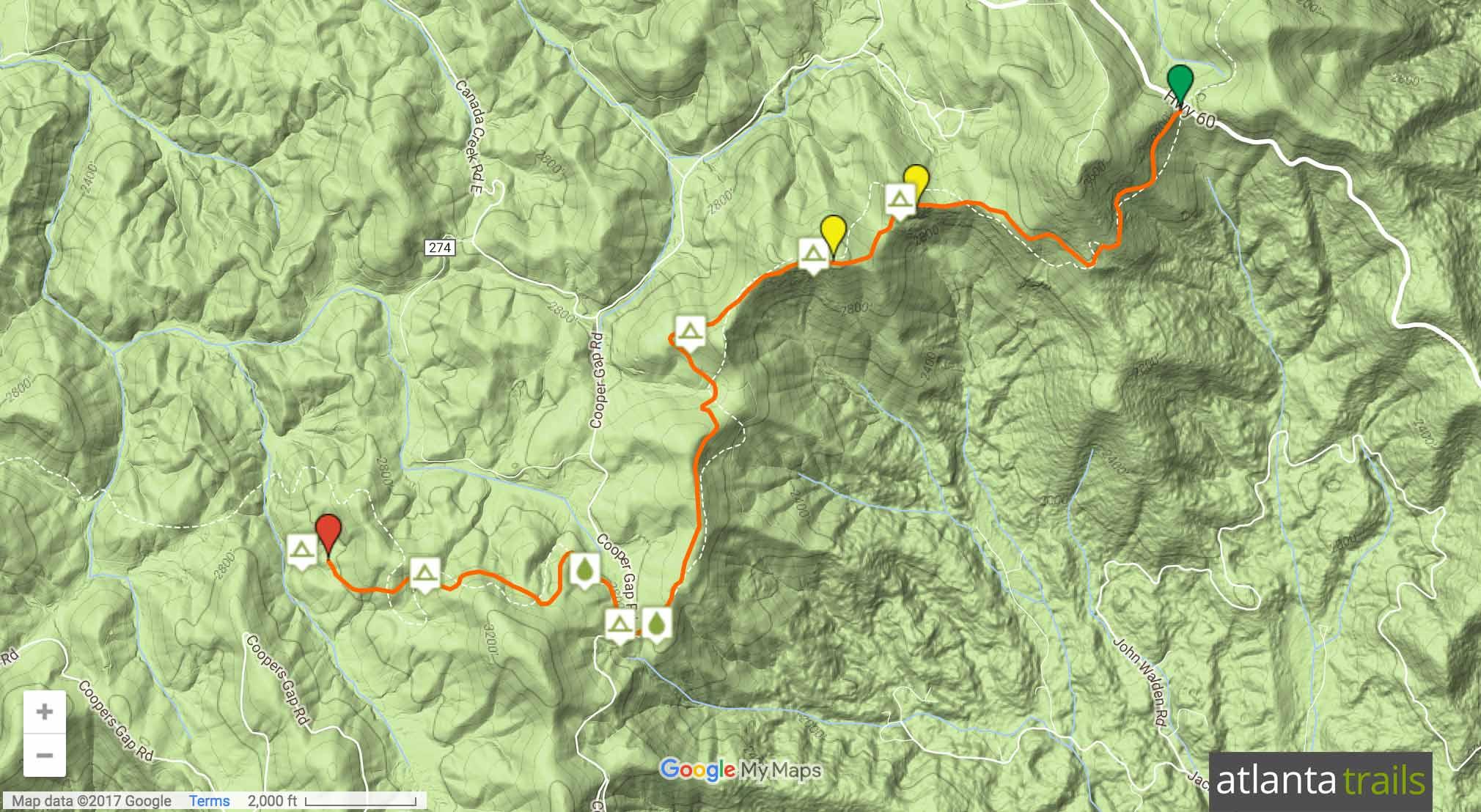 Appalachian Trail: Woody Gap to Ramrock Mountain Map