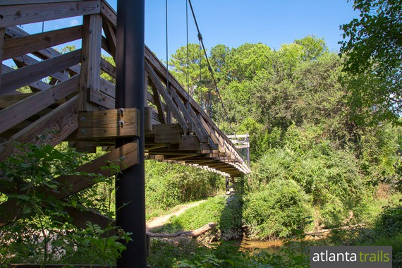 Morningside Nature Park in Atlanta's midtown neighborhood features two miles of walking, running and hiking trails