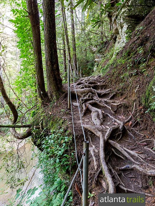 The hike to the Panther Creek waterfall crosses several dangerous sections of dropoffs along the trail