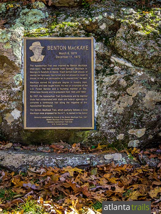 Hike the Appalachian Trail in North Georgia to the Benton MacKaye memorial, dedicated to the founder of the Appalachian Trail