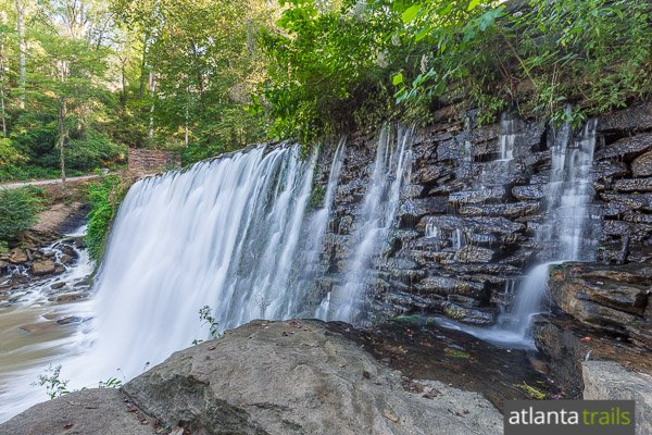 The Vickery Creek Trail visits an old, historic spillway dam at Roswell Mill, just north of Atlanta