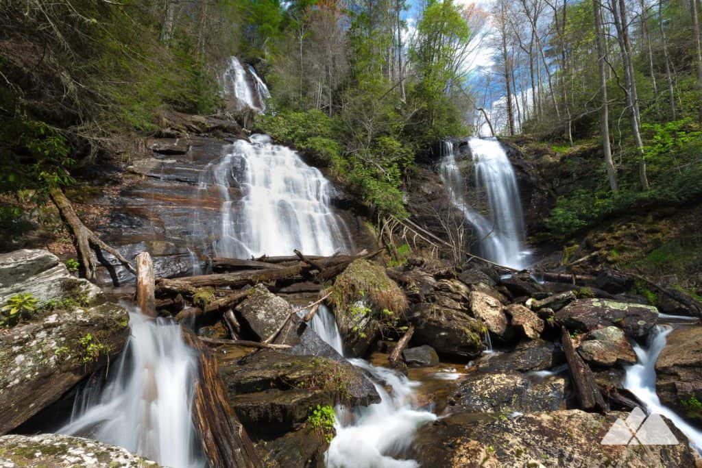 Hike the Anna Ruby Falls waterfall hike near Helen, Georgia; it's a great hike for beginners and families with kids