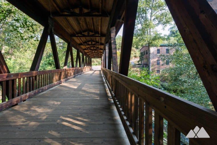 Hike the Vickery Creek Trail to a covered bridge and waterfall near Atlanta, GA