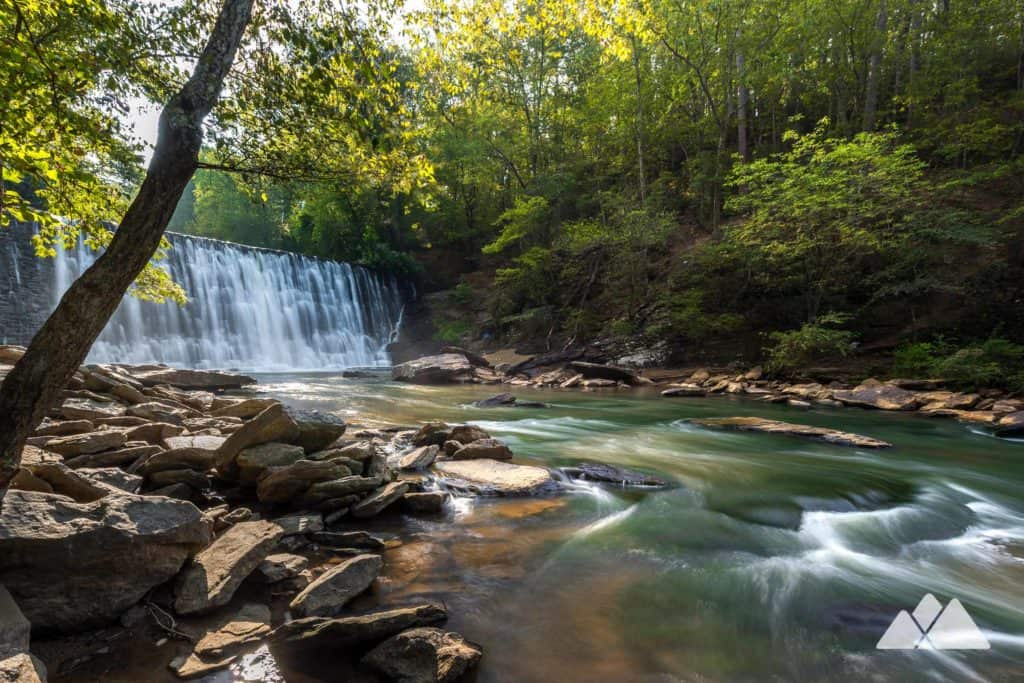 Hike the dog-friendly Vickery Creek Trail at Roswell Mill to a stunning spillway waterfall near Atlanta