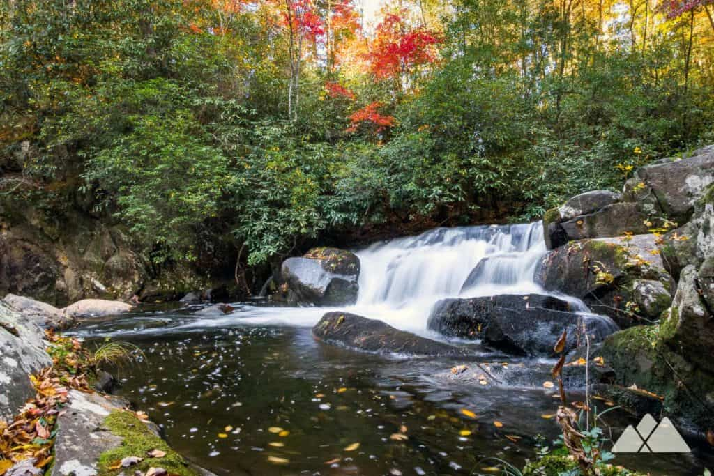 Hike to Jacks River Falls in the Cohutta Wilderness in autumn to catch beautiful fall leaf color in a remote hardwood forest