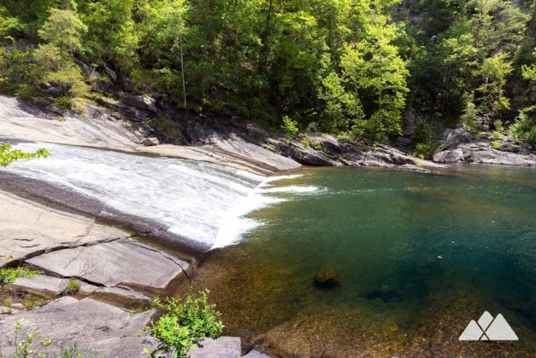 Sliding Rock Trail in Tallulah Gorge State Park: hike to a rock slide waterfall and swimming hole deep within the gorge