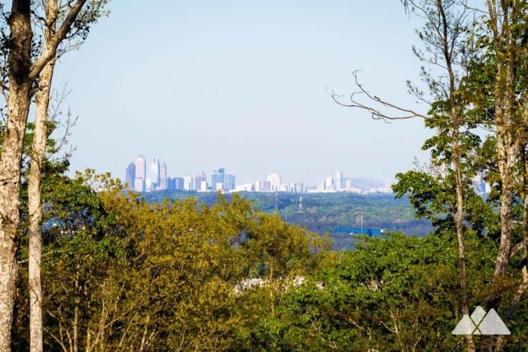 Hike the weetwater Creek Orange Trail to views of the Atlanta skyline