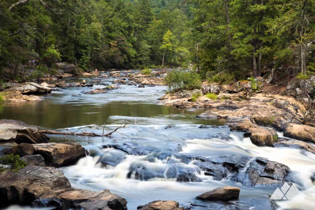 Hike the popular Sweetwater Creek Red Trail to waterfalls and whitewater at Sweetwater Creek State Park near Atlanta