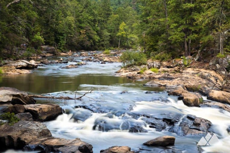 Sweetwater Creek State Park: hike the Red Trail to scenic overlooks over a whitewater-filled creek