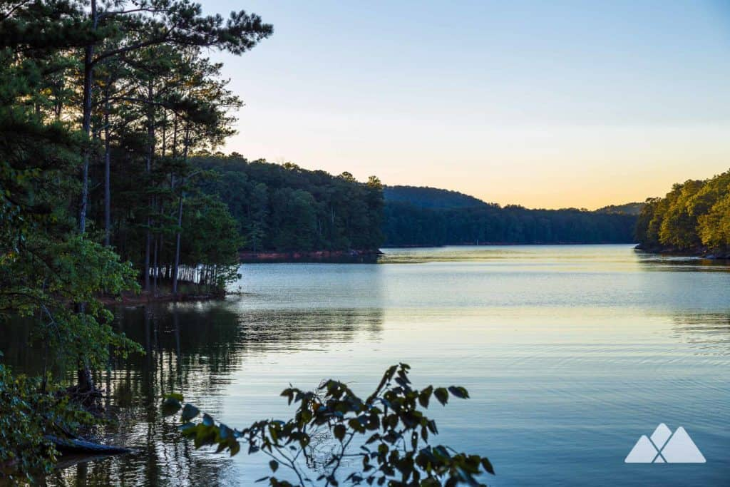 Top hikes at Lake Allatoona: hike, run or bike the Iron Hill Loop Trail to beautiful lakeside views at Red Top Mountain State Park in North Georgia