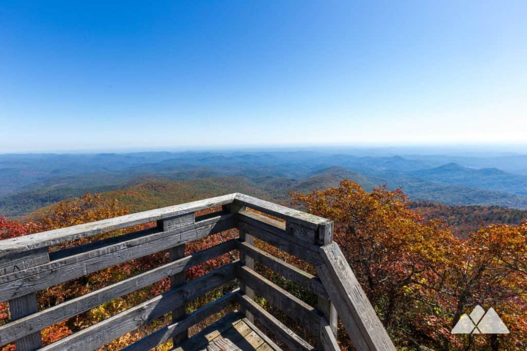 Hike to Georgia's second highest peak, Rabun Bald, to view spectacular 360-degree panoramic views of North Georgia's exploding fall leaf color