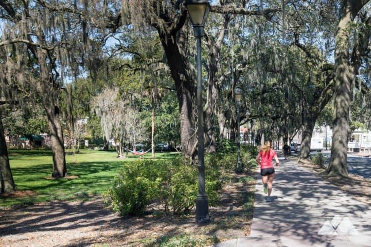 Explore Savannah's historic district bordering Forsyth Park in Georgia's romantic coastal city