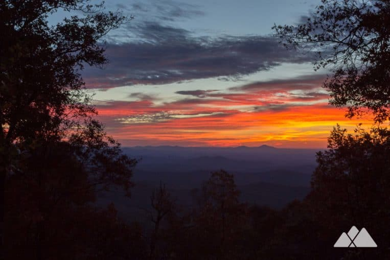 Top 10 Georgia sunrise and sunset hikes: sunrise from the Len Foote Hike Inn, an eco-friendly inn available only by hike from Amicalola Falls