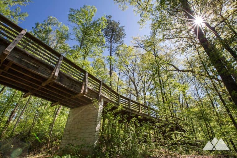 Run the South Peachtree Creek Trail, following a raised boardwalk through treetops at Mason Mill Park in Decatur, GA