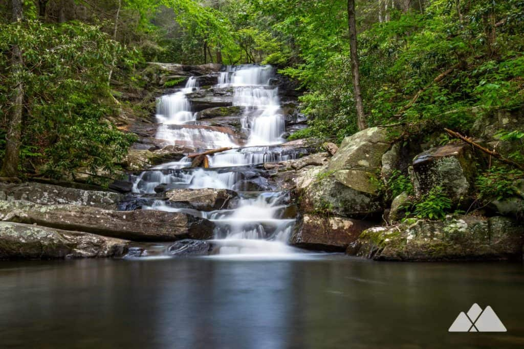 Hike to stunning double waterfalls at Emery Creek Falls near Blue Ridge, Georgia