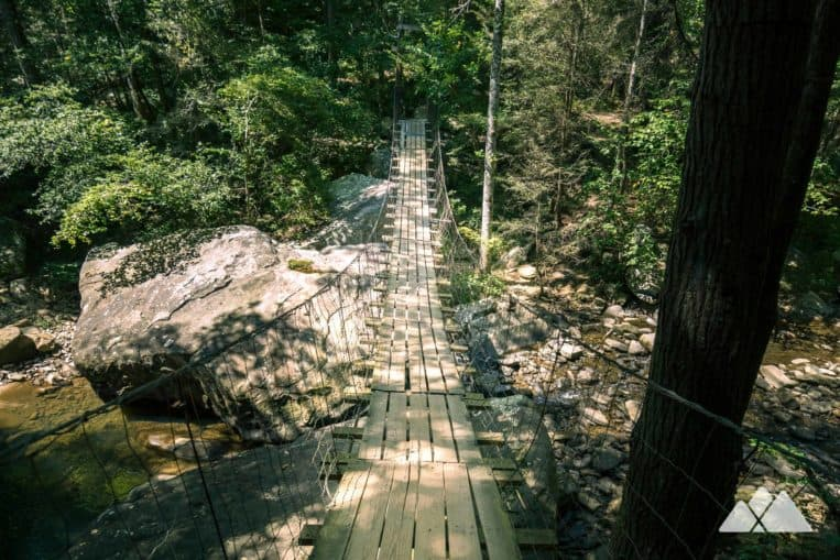 Our favorite Chattanooga hikes: cross Middle Creek on a long suspension bridge on the Cumberland Trail at Signal Mountain