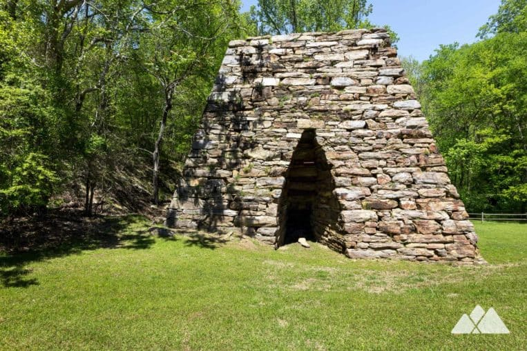 Hike to the enormous, pyramid-like remains of Cooper's Furnace on the Laurel Ridge Trail just north of Atlanta