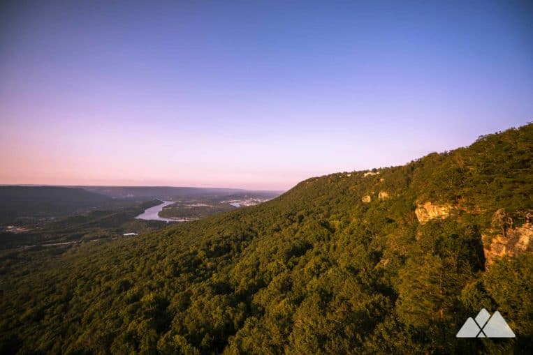 Hike to simply stunning sunset views from Sunset Rock on Lookout Mountain in Chattanooga, TN