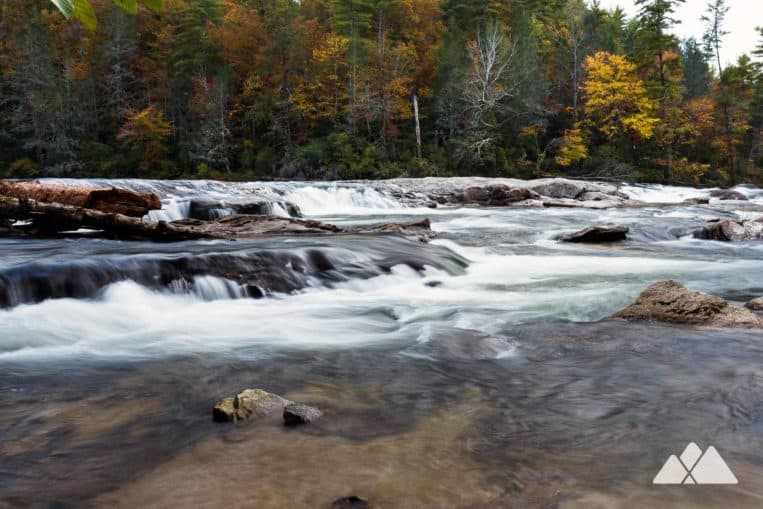 Hike the Dicks Creek Falls Trail in North Georgia to beautiful views of the wild, scenic Chattooga River