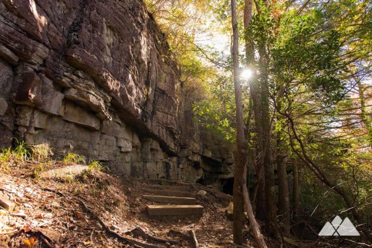 Hike the Greeter Falls Trail near Chattanooga, TN, descending into a waterfall-filled valley on Firescald Creek