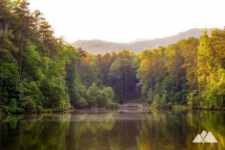 Big Canoe, Georgia: hike the Waterford Trails to two glassy ponds, an arched, wooden bridge and spectacular sunsets