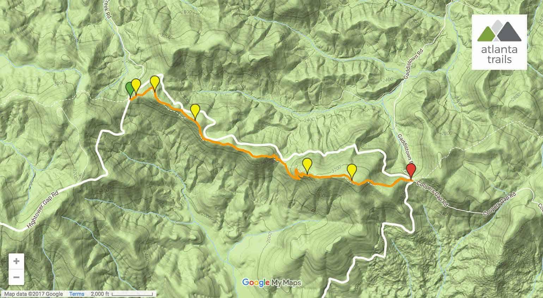 Appalachian Trail In Georgia Map.Appalachian Trail Hightower Gap To Cooper Gap