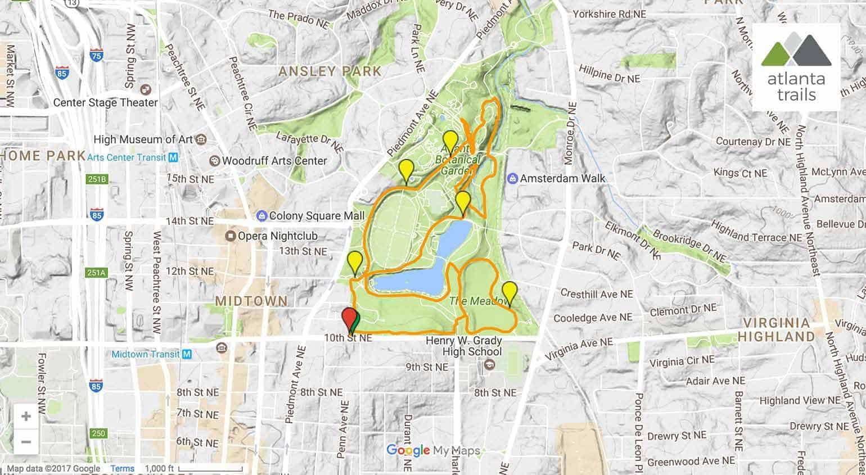 piedmont park running trails  atlanta trails - piedmont park running trail map directions  details